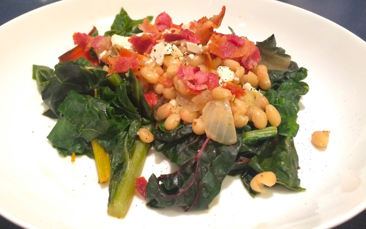White Bean Ragout With Swiss Chard, Sundried Tomatoes, and Bacon