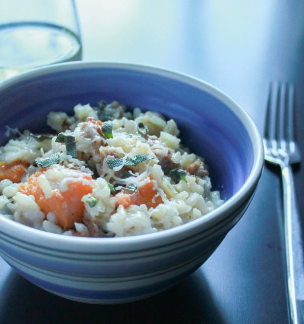 Italian Sausage, Butternut Squash and Walnut Risotto