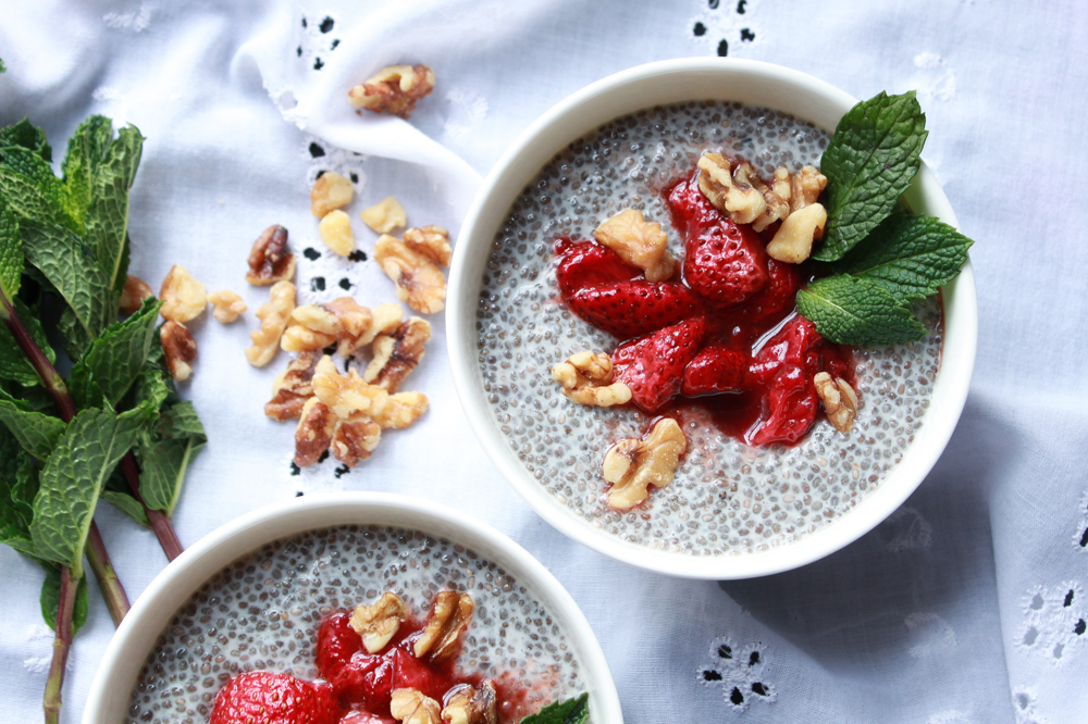Chia Seed Pudding with Roasted Strawberries