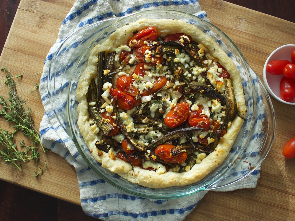 Okra and Tomato Tart
