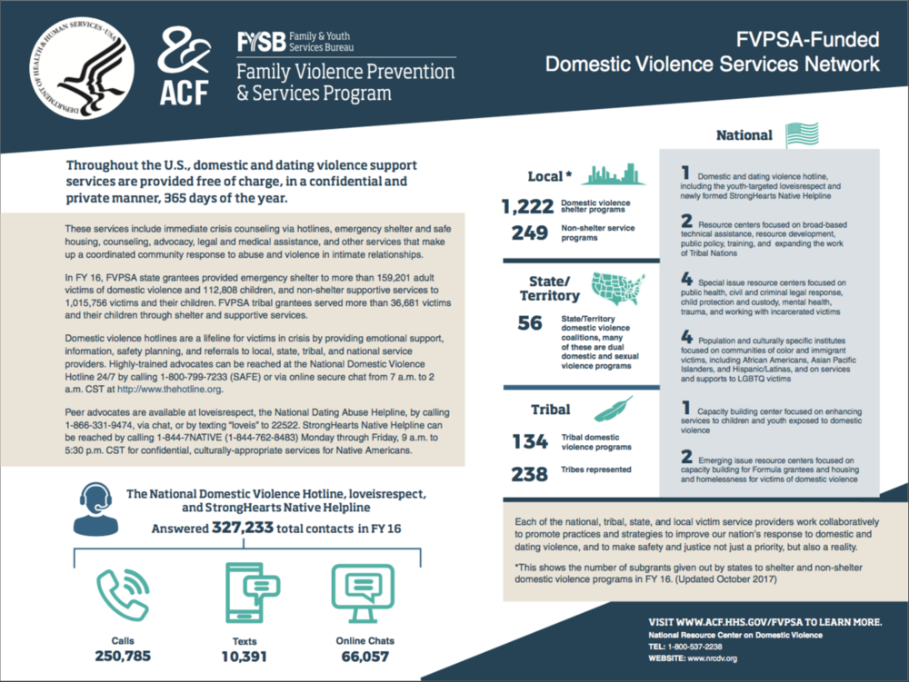 This infographic describes the network of FVPSA-funded domestic violence services.