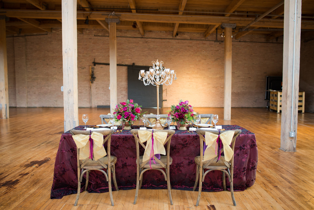 For the table design, I decided to use this beautiful Marsala (Pantone's 2015 Color of the Year) colored linen from Nuage Designs. I also incorporated gold and hints of purple to bring out the jewel tones which allowed the colors to play off of one another.