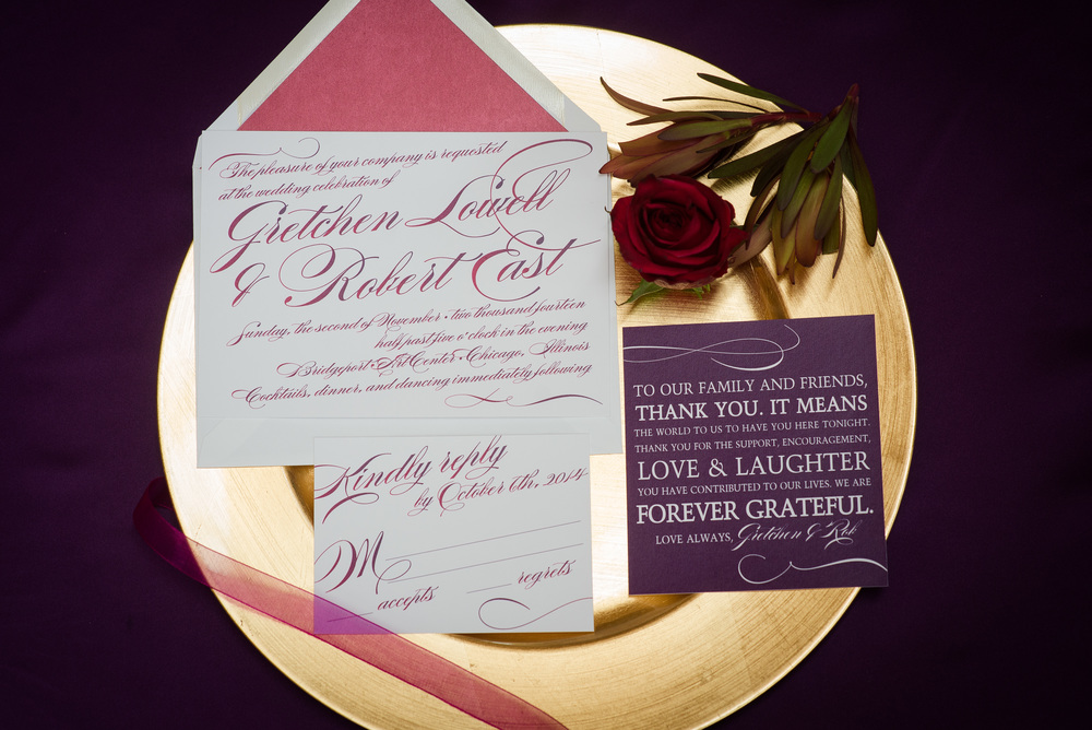 I love working with Amanda Day Rose Paperie. She really knows how to take a color palate and turn it into something beautiful and elegant as you see that she did in this invitation suite.