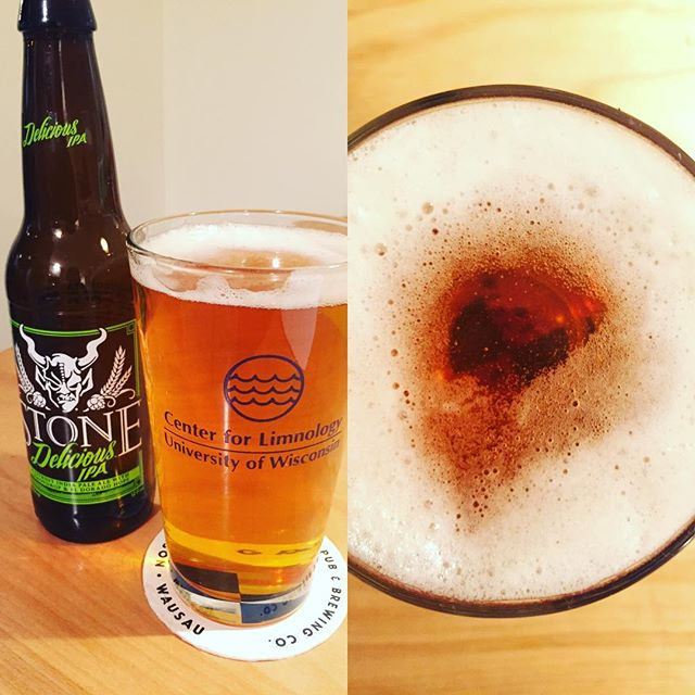 Brand new @wisclimnology pint glasses! 13cm+ #beersecchi for @stonebrewing  Delicious IPA. #bringyourworkhome #limnologistatwork