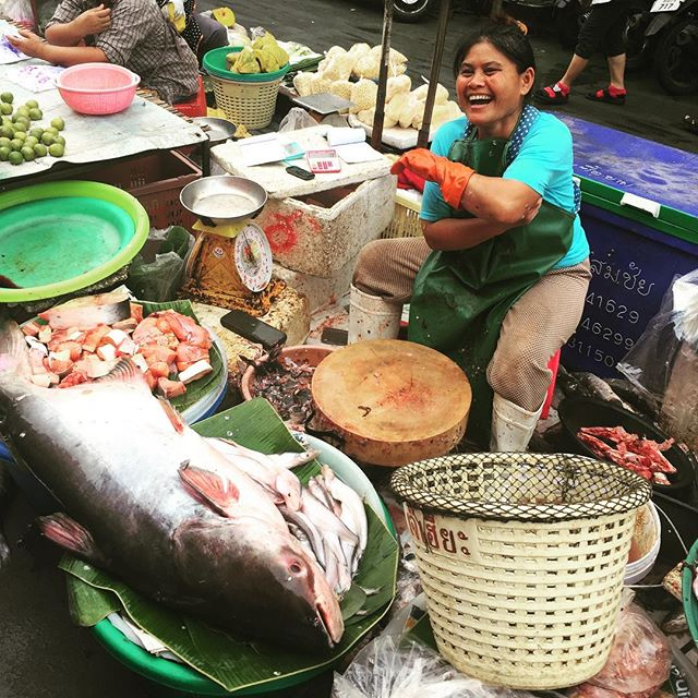Now there's a catfish! 24.6 kilo Pangasius at the market in Khon Kaen, Thailand.