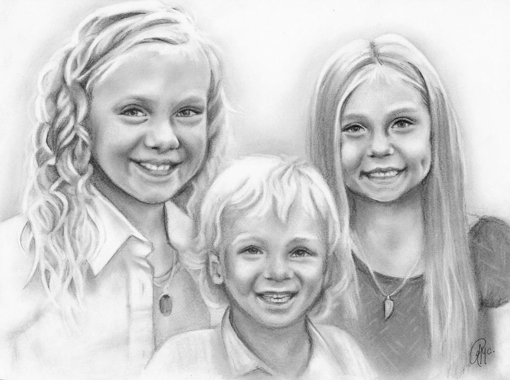 three subject portrait, custom family portrait, custom drawn pencil sketch art.jpg