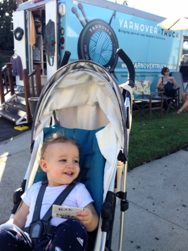 Owen in front of the Yarnover Truck during the 2014 San Diego Yarn Crawl. Back when he would sit in a stroller. Sigh.