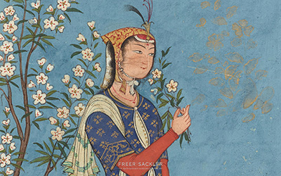 Woman with a spray of flowers  ; Iran, Safavid period, ca. 1575; opaque watercolor and gold on paper