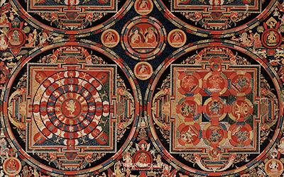 Four Mandala Vajravali Thangka  ; Tibet, ca. 1430; opaque watercolor on cloth