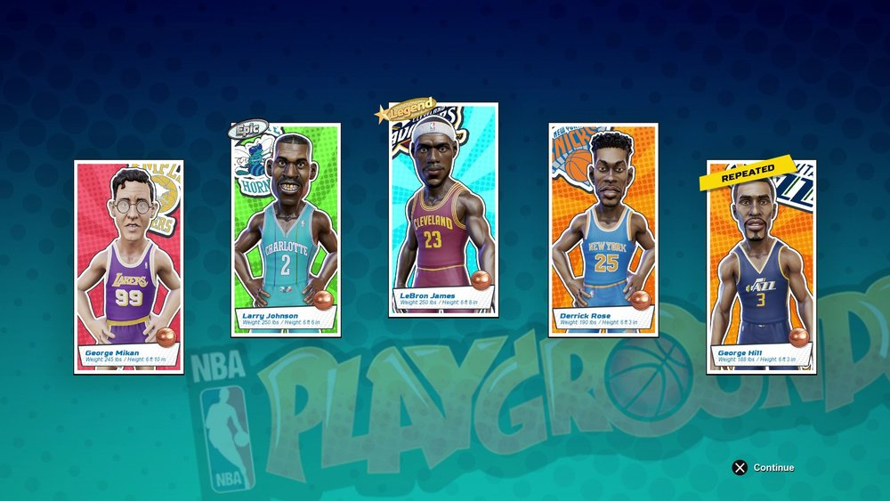 A smattering of player portraits from a freshly opened pack. Opening a double nets the user automatic XP for the player in question, which softens the blow a bit. Also, the quality blast-from-the-past inclusion George Mikan looks like Professor Frink.