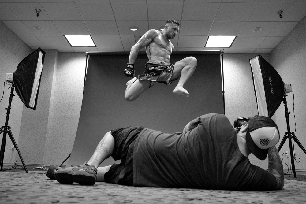 Lance Palmer throwing knees for Ryan Loco during the Studio Day for WSOF32