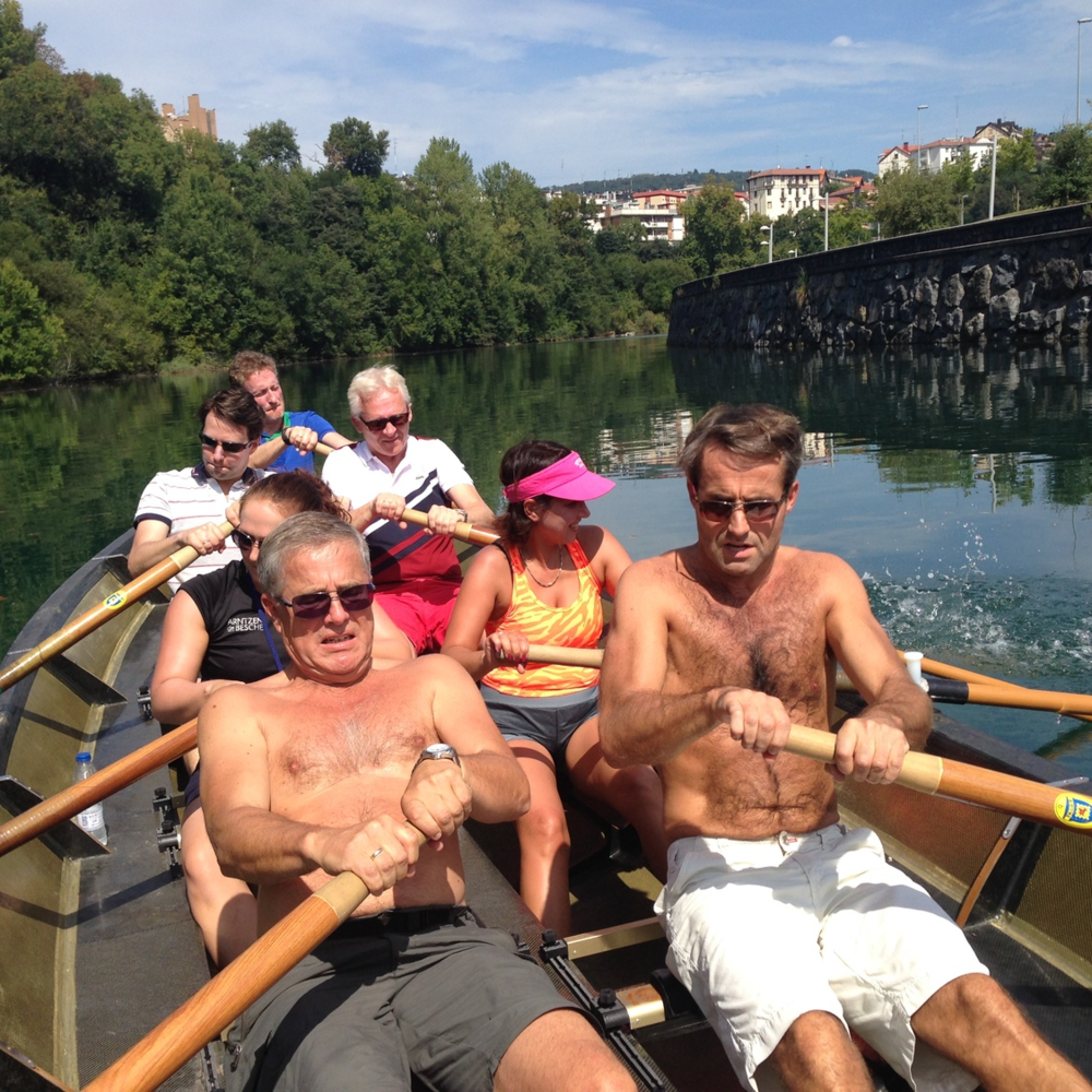 Rowing in river Urumea