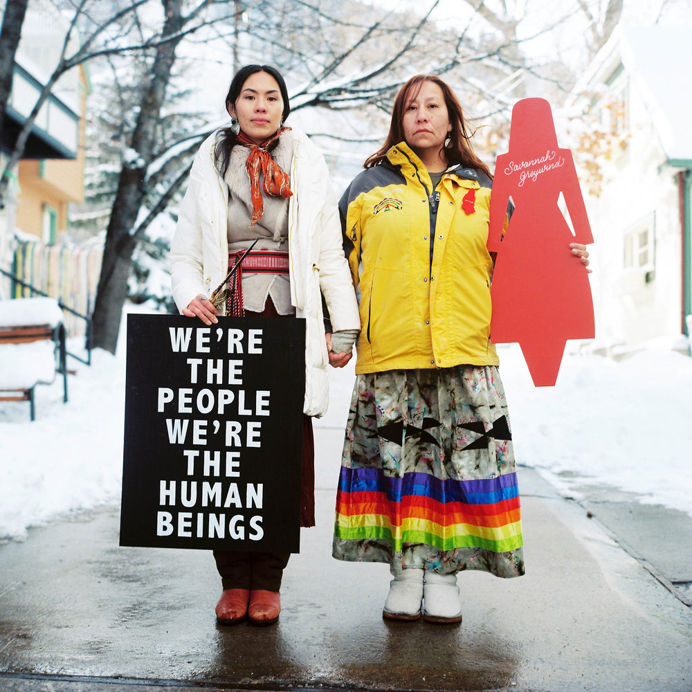 Photo By: Jonathan Canlas  Sage Trudell and I honoring Savanna Greywind and her Father, John Trudell. MMIW Gathering at Sundance Film Festival