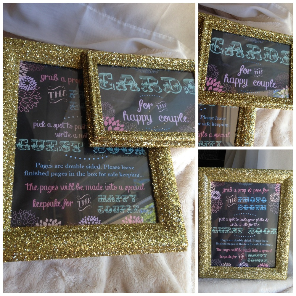 Gold glam chalkboard signs