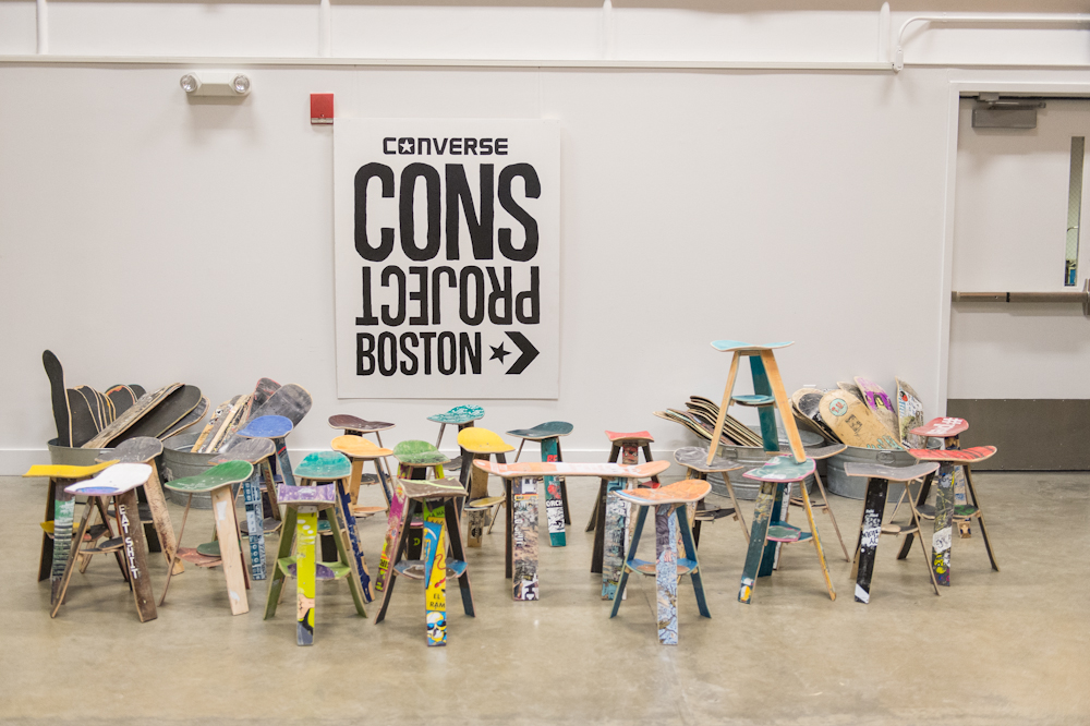 Last month I was able to do two Cons Projects, which were workshops on how to make stools from old skateboards. Here are the great photos, by Rob Collins, of the Boston workshop.