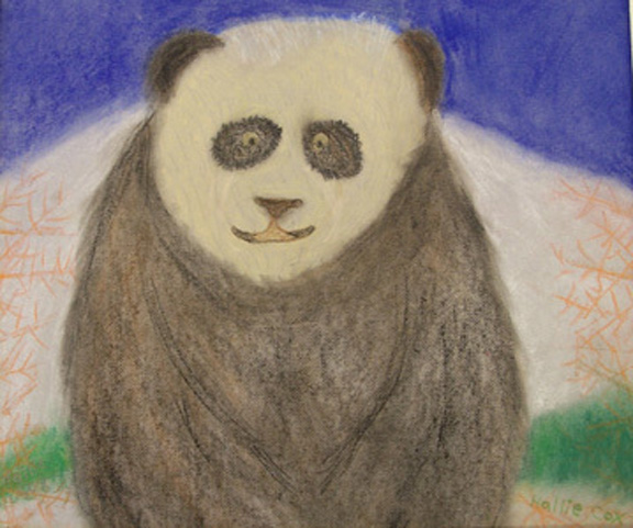 """Smiley Panda"" pastel painting"