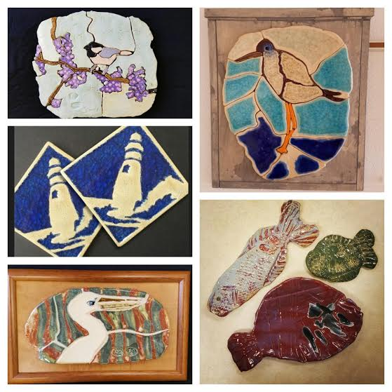 A sneak peak at some ceramic mosaics by James O'Dor, clay fish by Shea Collins, and our recycled glass tile coasters.