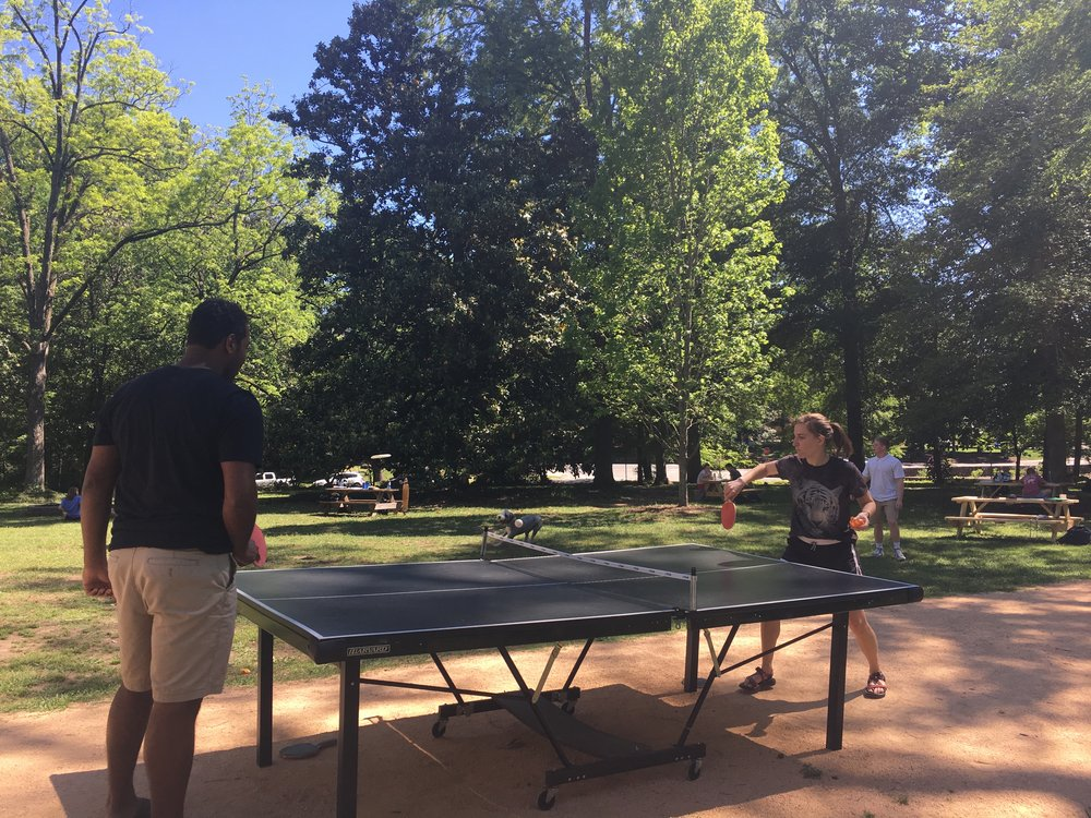 We moved our ping-pong table outside during exams this year and it was a popular addition.