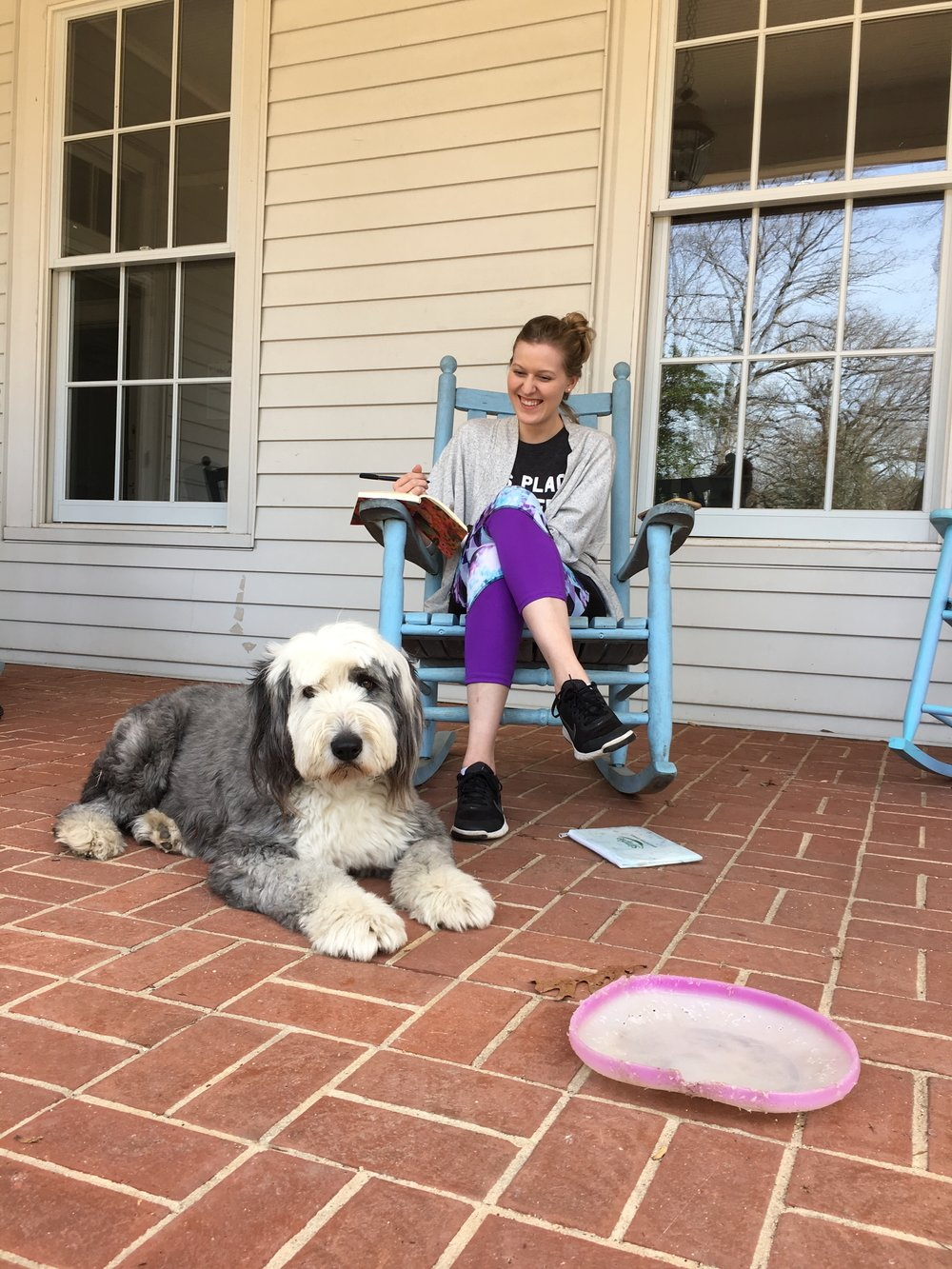 Barrie, Madison's old English sheepdog, is by far the most beloved addition to the Study Center.