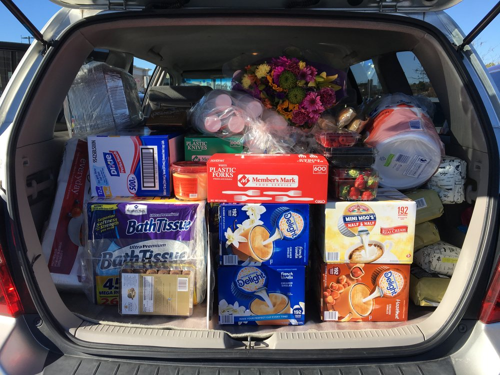 The staff goes on a big Sam's Club run prior to the start of exams. Believe it or not, we use all the supplies packed into that car!