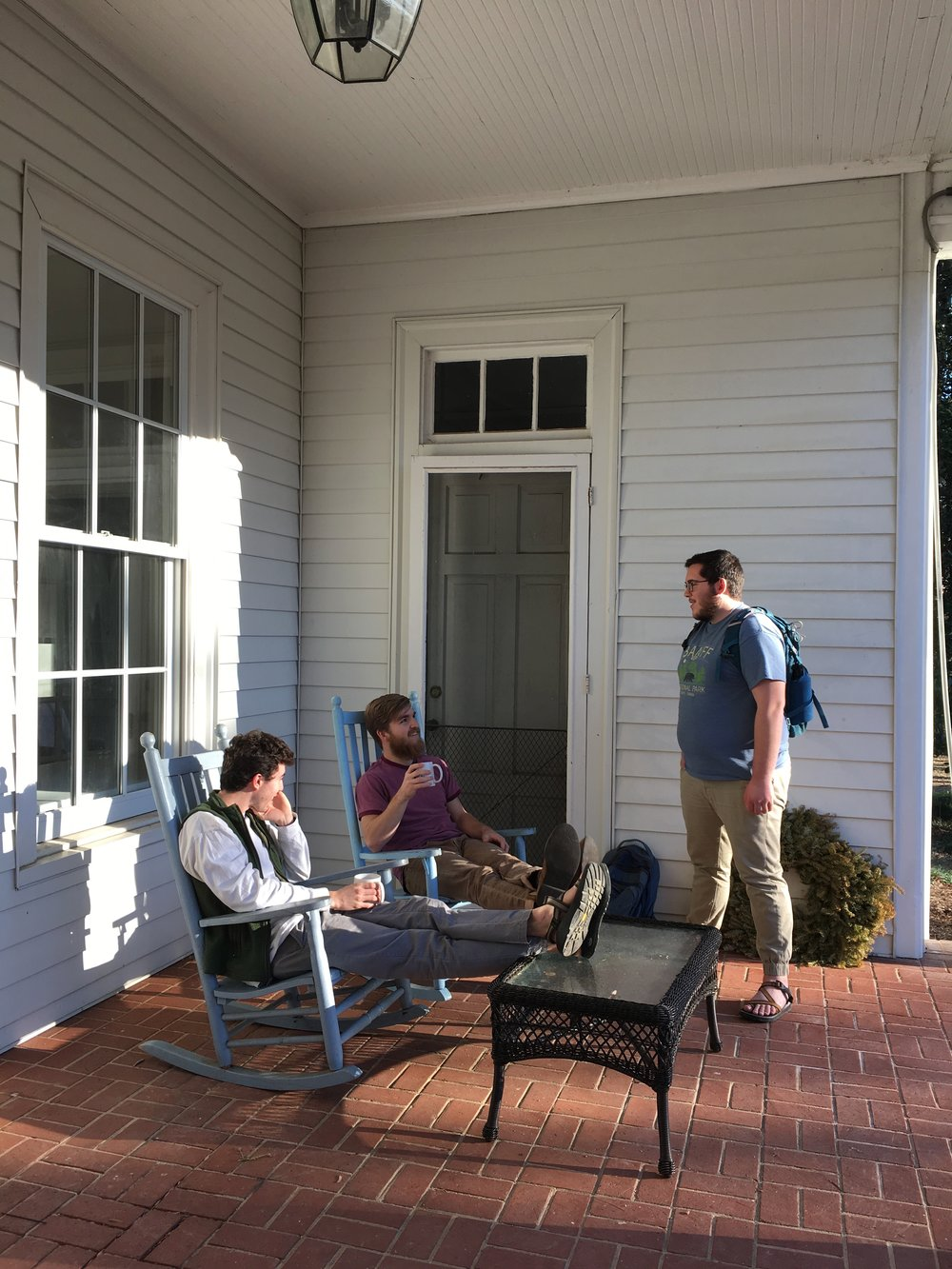 The rocking chairs on the front porch are certainly well-used for both casual and formal conversations.