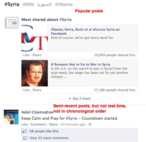 Facebook hashtag #syria