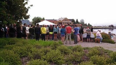 Volunteering and dancing at Harbor Park in Grand Marais
