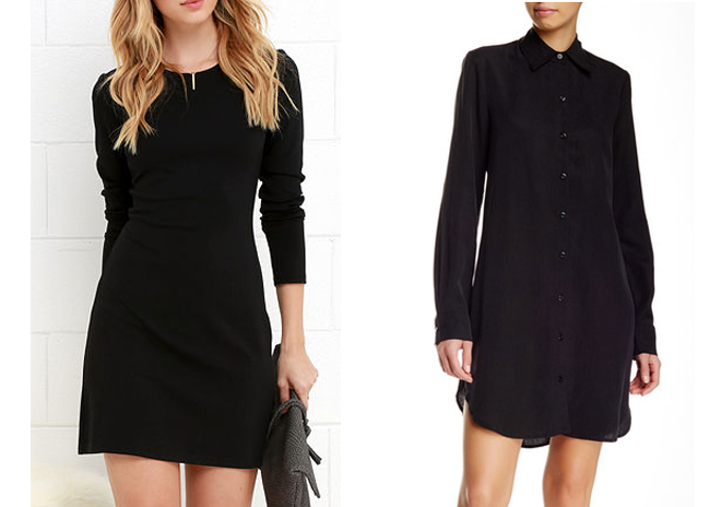 Perfectly Posh Black Long Sleeve Dress,  Lulu's . Long Sleeve Button Front Shirt,  Nordstrom Rack .