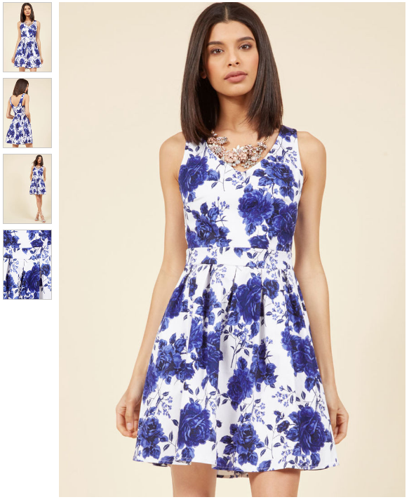 rose print dress formal