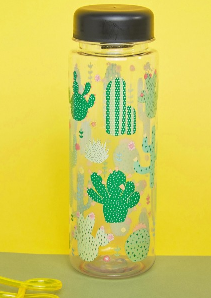 cactus print water bottle