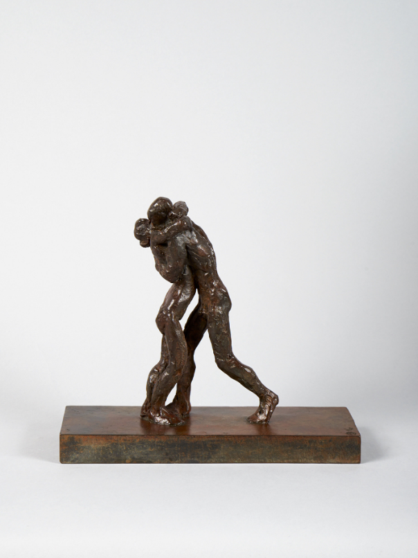 14. The Kiss . bronze  8 3/4 inches x 9 3/4 inches x 4 inches