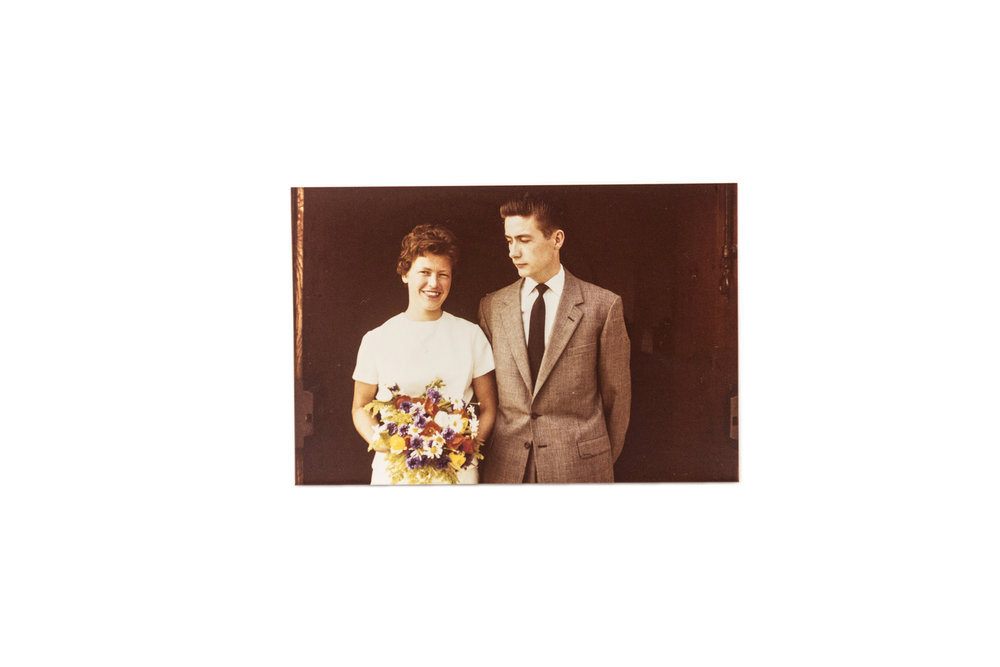 """Wedding, July 1, 1961.   """"Poul was in Copenhagen and I was in Randers. So, we met in Aarhus Saturday noon and got married Saturday afternoon. The pastor escorted us to the alter. There wasn't even any organ music. It was a small wedding."""""""