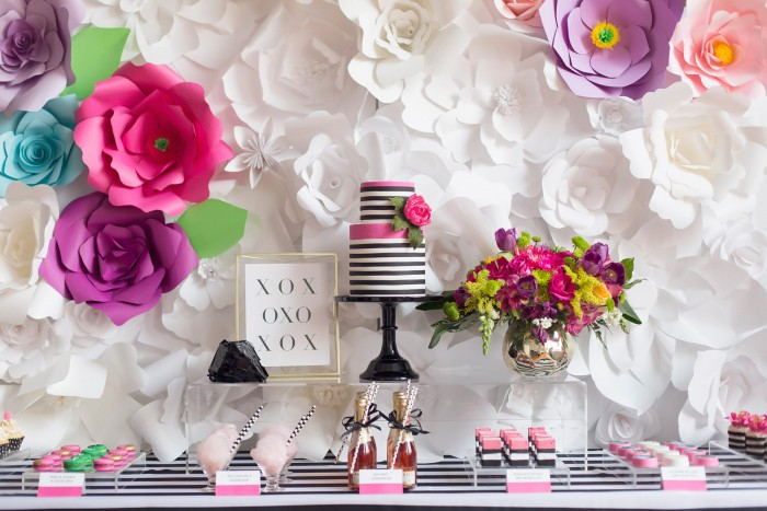 Black, White With A Pop of Hot Pink Party Sweet Table