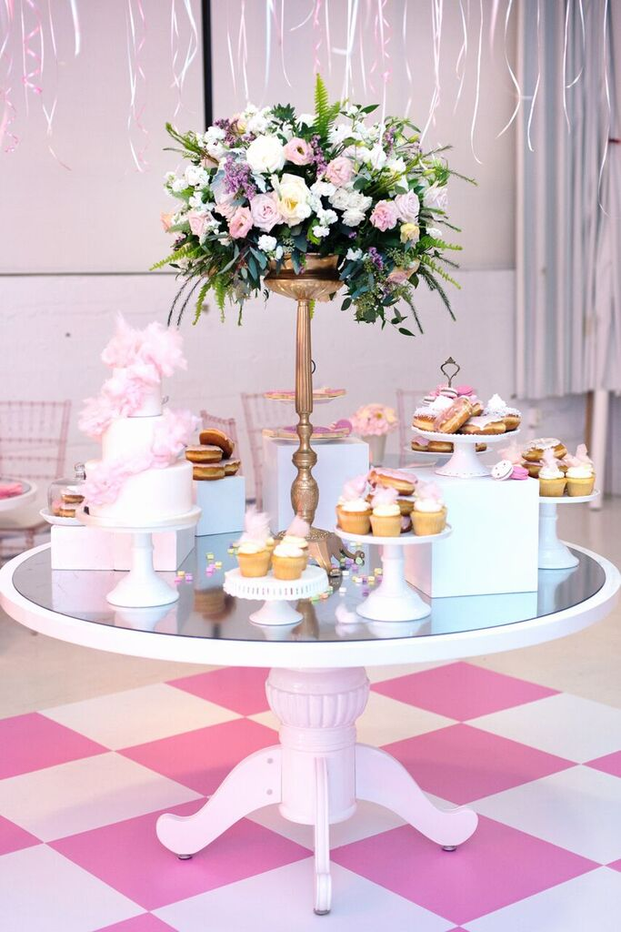 August In Bloom - Pink-Accented Birthday Sweet Table - Fancy Pufs Celebrates Their First Birthday