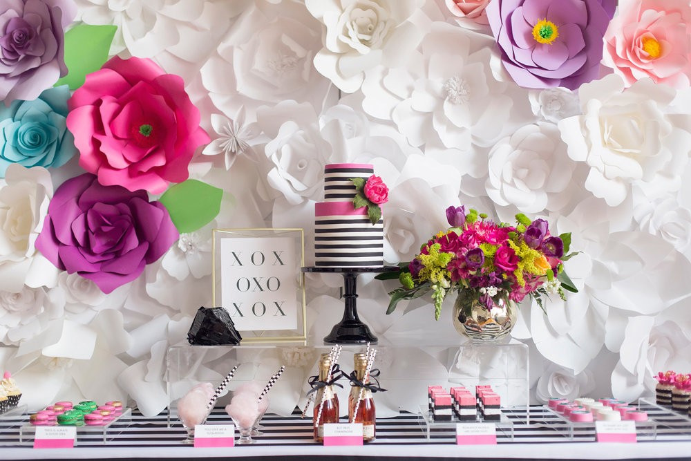 Sweet table - Kate Spade inspired black, white, with a pop of hot pink party