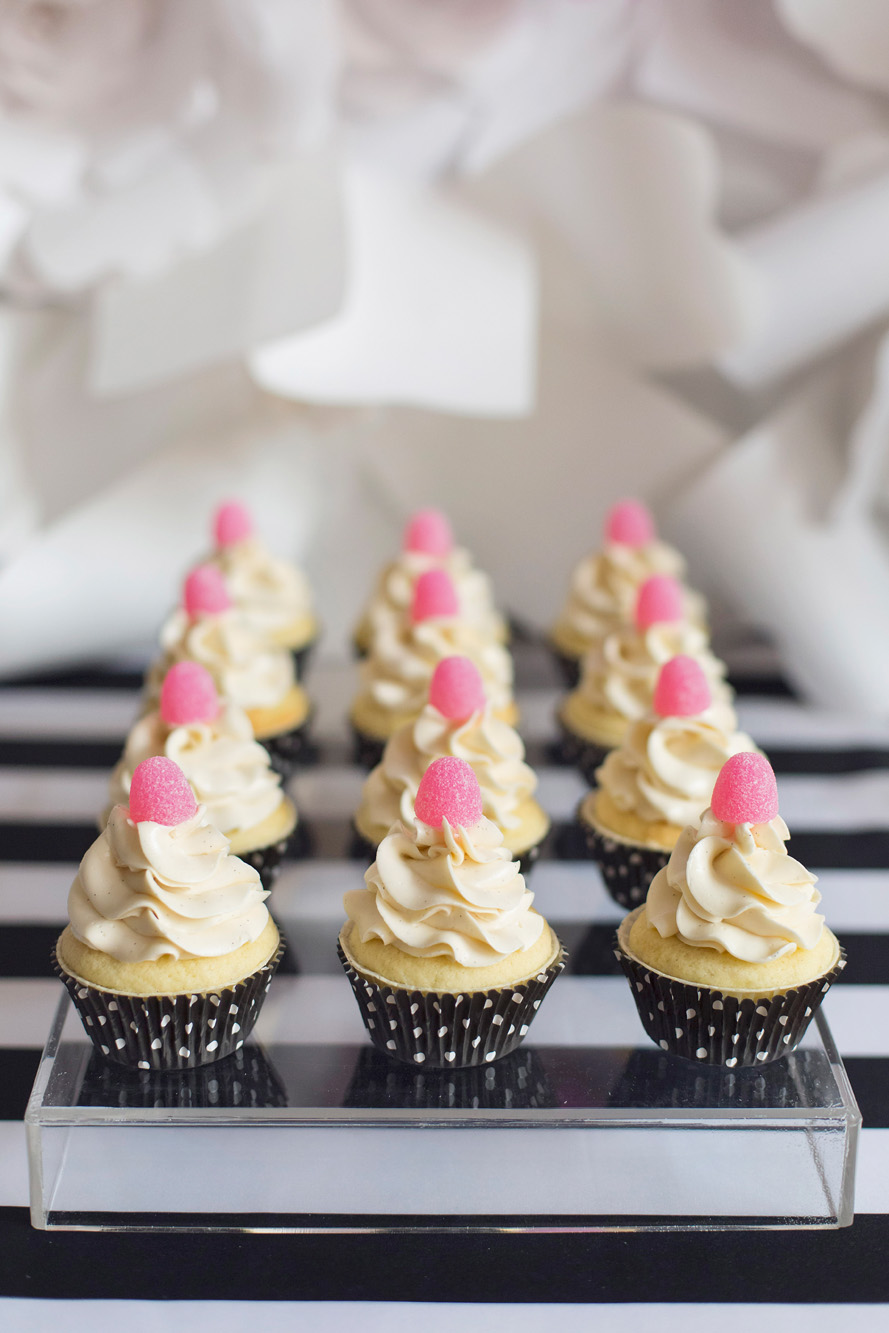 Polkadot gumdrop mini cupcakes - Kate Spade inspired black, white, with a pop of hot pink party