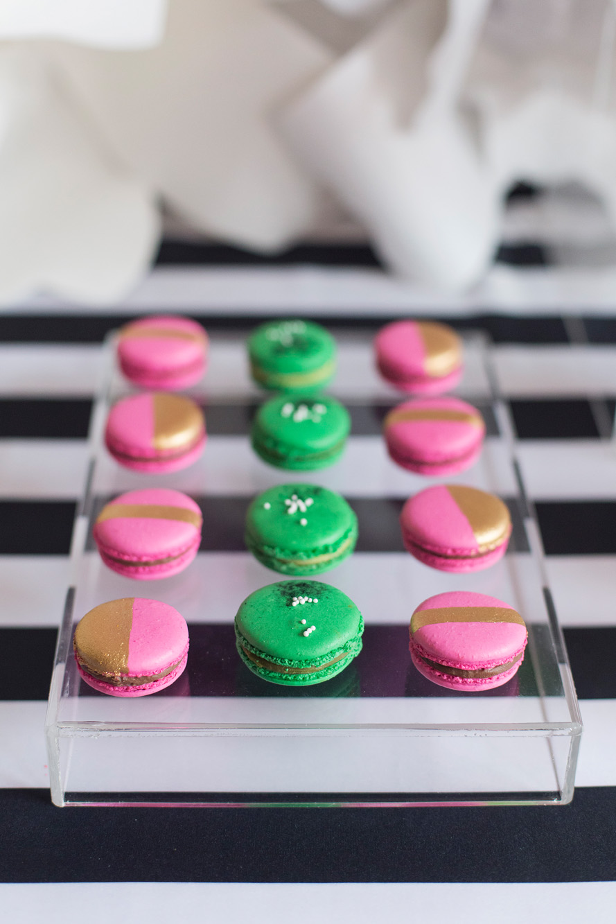 Macarons - Kate Spade inspired black, white, with a pop of hot pink party