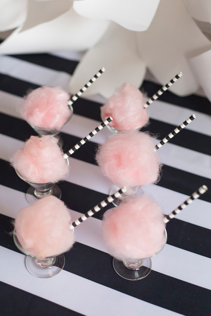 Cotton candy cocktails - Kate Spade inspired black, white, with a pop of hot pink party