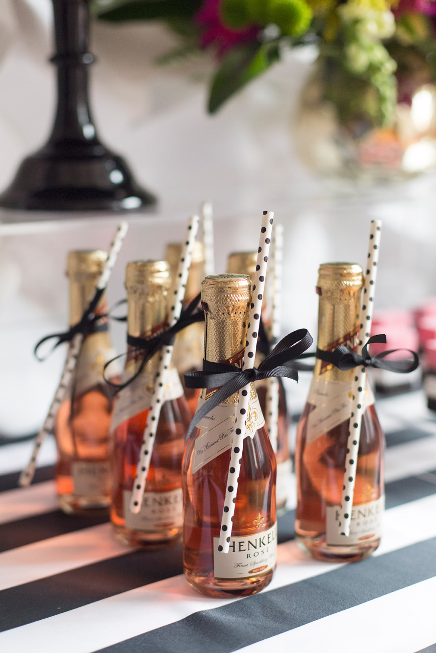 Mini champagnes - Kate Spade inspired black, white, with a pop of hot pink party