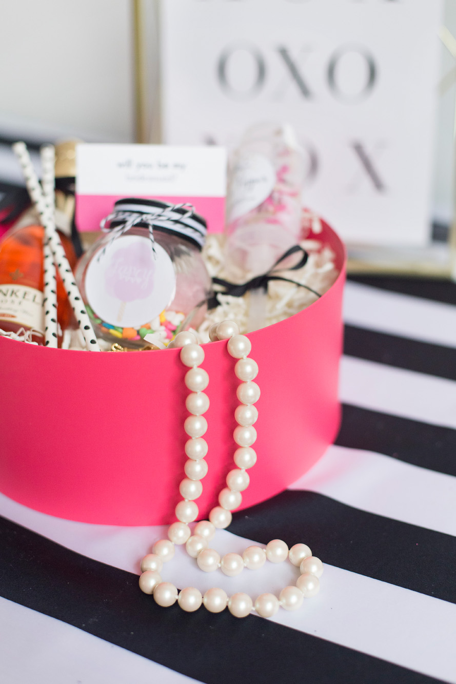 Bridesmaid box - Kate Spade inspired black, white, with a pop of hot pink party
