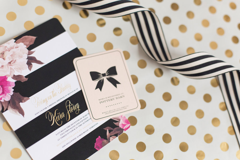 Invitation - Kate Spade inspired black, white, with a pop of hot pink party