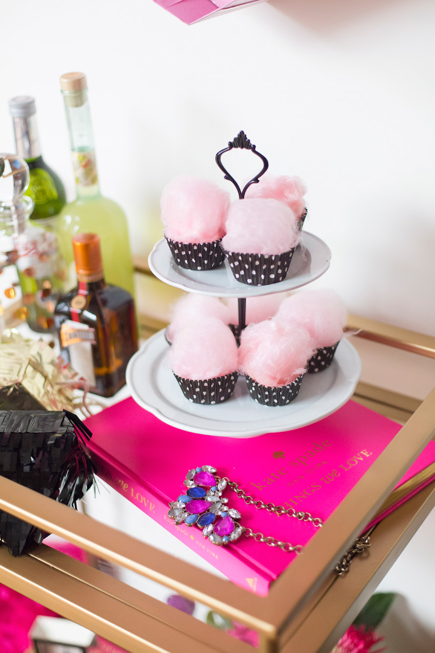 Cotton candy cupcakes - Kate Spade inspired black, white, with a pop of hot pink party