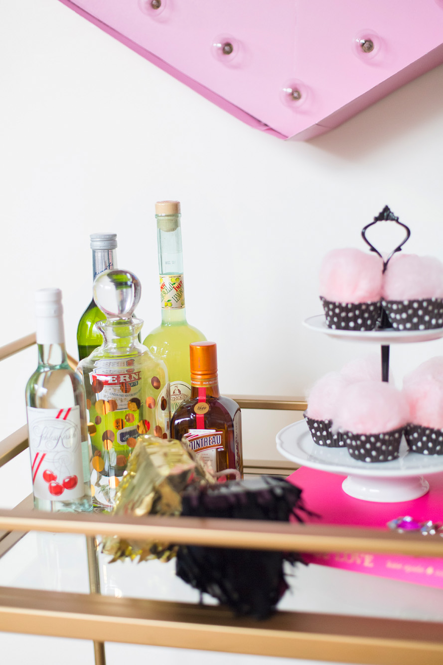 Drink cart - Kate Spade inspired black, white, with a pop of hot pink party