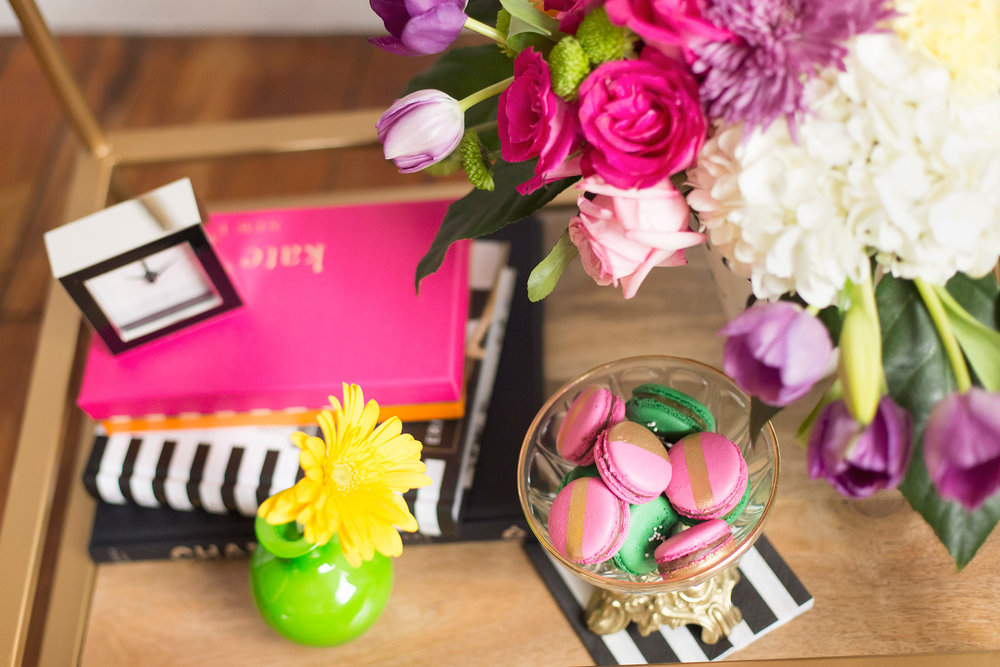 Kate Spade inspired black, white, with a pop of hot pink party