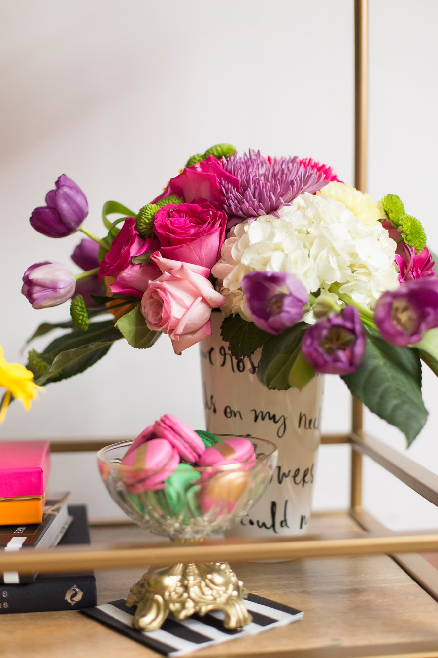 Fresh florals - Kate Spade inspired black, white, with a pop of hot pink party