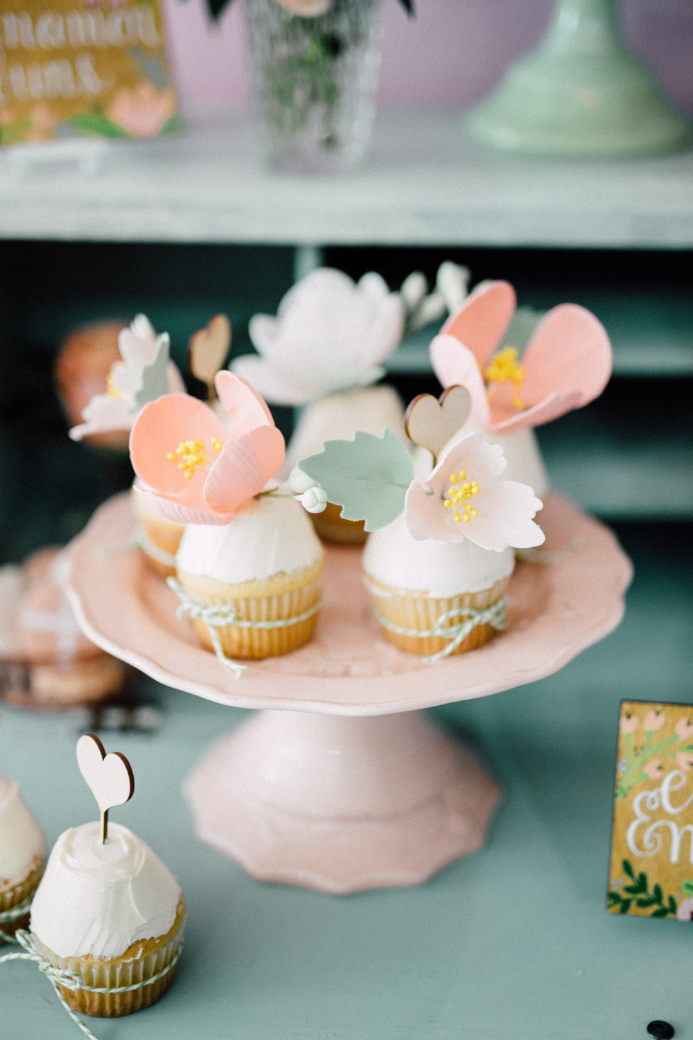 Floral cupcakes - Bun In The Oven Baby Shower (Style Me Pretty & SMP Living)