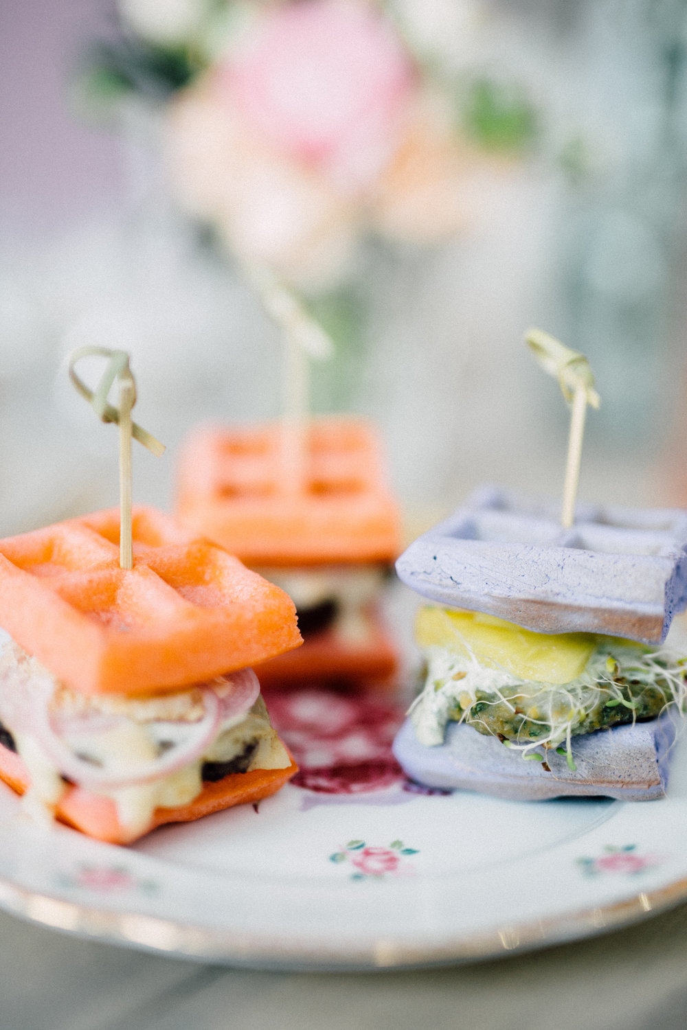 Mini waffle burger sliders - Bun In The Oven Baby Shower (Style Me Pretty & SMP Living)