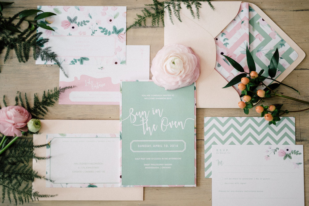 Rifle Paper Co. inspired invitations - Bun In The Oven Baby Shower (Style Me Pretty & SMP Living)