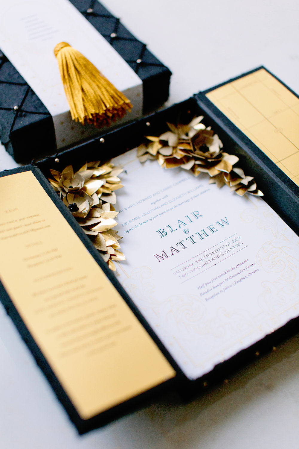 Gold box invitation - Love, Balmain (Wedluxe)