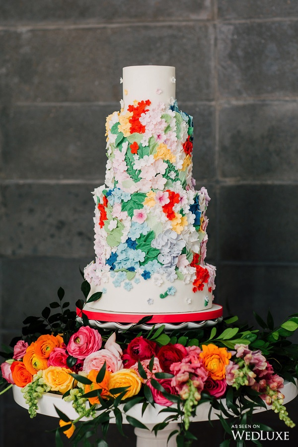 Colourful floral cake - Dreaming of Oscar (Wedluxe)